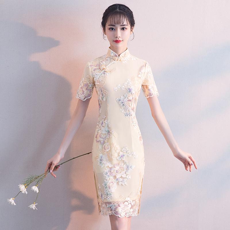 改良旗袍连衣裙2018新款秋季少女小香风小礼服演出大气清新旗袍裙