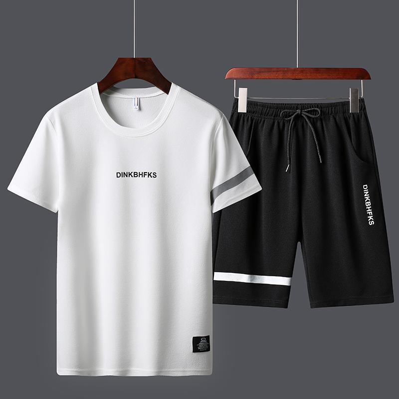 夏季新款短袖运动套装2020圆领男潮流青年短袖T恤短裤两件套男款