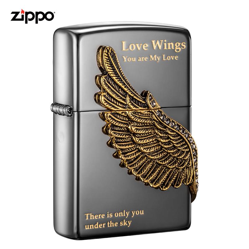 芝宝打火机zippo正版 美国原装进口爱情之翼男士打火机|ZBT-1-16A