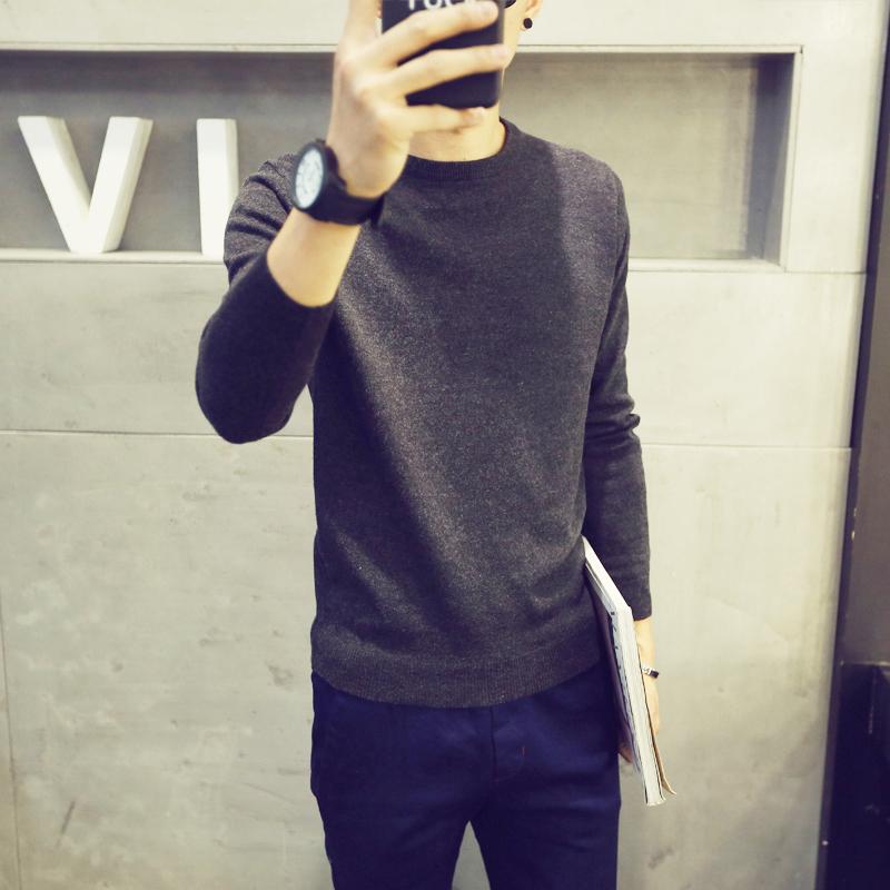Осень свитер мужчина облегающий, южнокорейская версия круглый вырез твердый дикий свитер мужской тенденция личность студент хеджирование линия рубашка