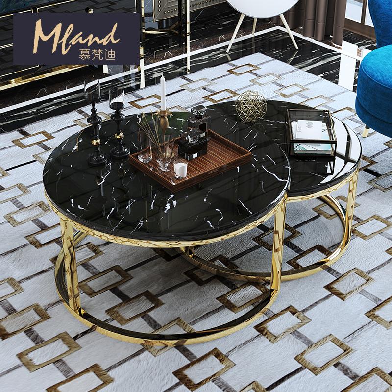 慕梵迪后现代轻奢不锈钢客厅大理石圆形茶几酒店大厅港式镀金边几