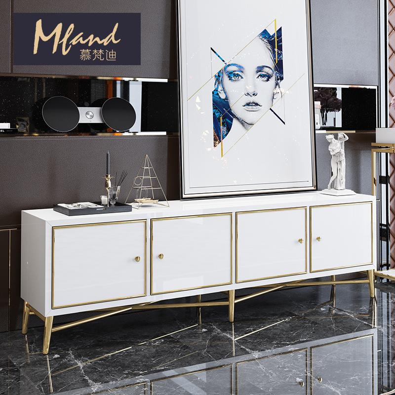 慕梵迪客厅后现代简约黑白轻奢电视柜别墅不锈钢矮柜地柜卧室柜子