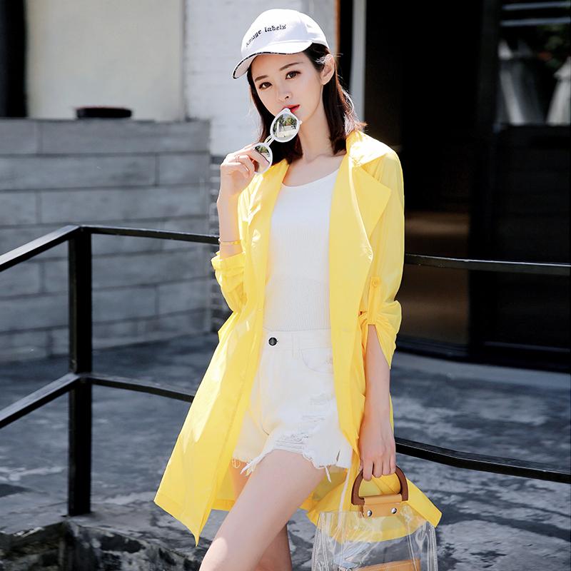 2020夏季新款韩版防晒衣女中长款长袖西装领超仙洋气宽松薄外套