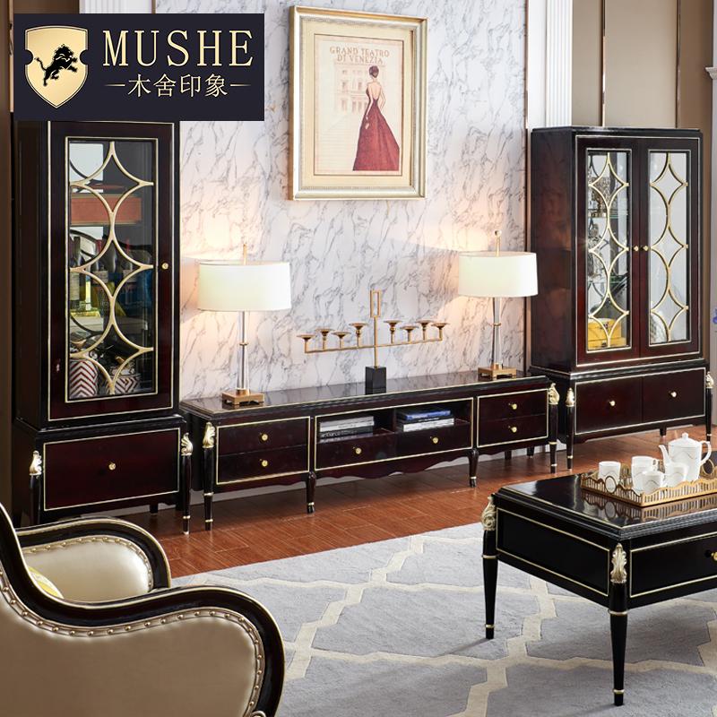 欧式轻奢实木酒柜客厅新古典奢华电视柜边柜展示柜单双门装饰柜