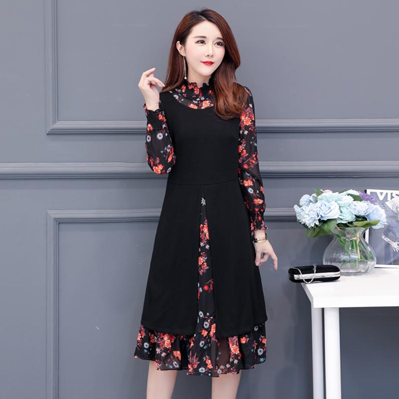 初秋针织连衣裙女长袖裙装2018新款韩版早秋女装气质有女人味裙子