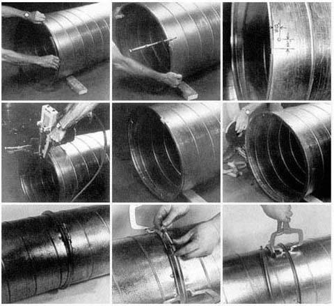 螺旋风管机成型的圆管安装图