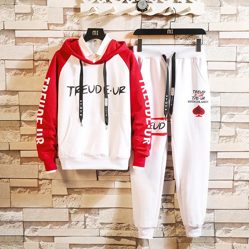 秋季青少年卫衣套装男运动两件套潮初中学生高中帅气韩版衣服一套