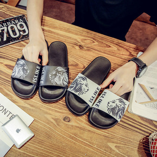 ISLIKE Summer Men Women Slippers Lion Head Pattern Sandals