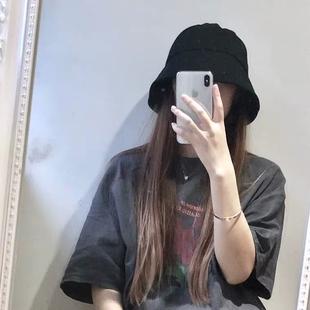 网红日本ins复古黑色水桶渔夫帽学生小众圆脸钟形帽子女夏韩版潮