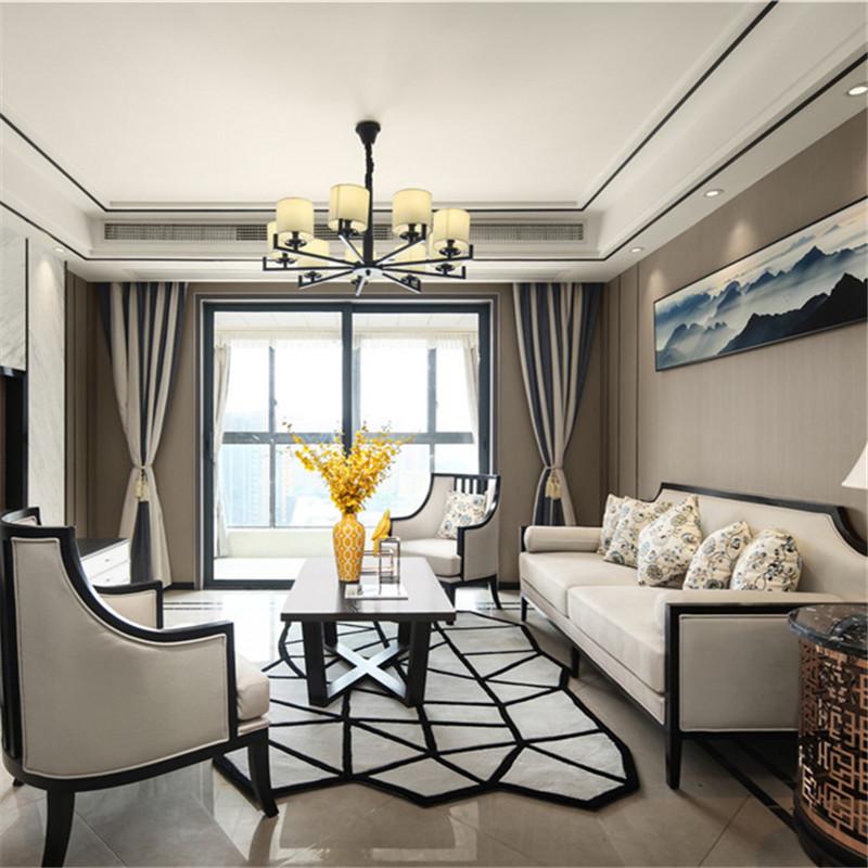 新中式实木沙发组合现代中式客厅简约皮质沙发系列样板房酒店家具