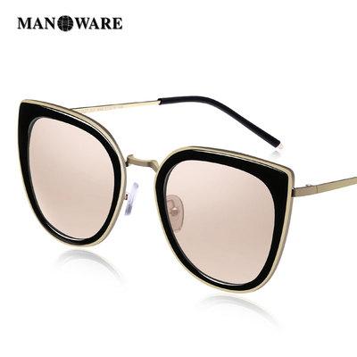 曼娜维尔女士墨镜2018新款潮猫眼偏光眼镜防紫外线圆脸太阳镜女