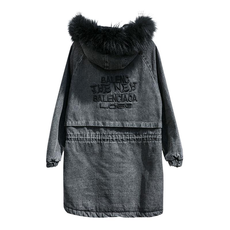 加绒加厚连帽牛仔外套女2020秋冬新款宽松韩版中长款女生牛仔外衣