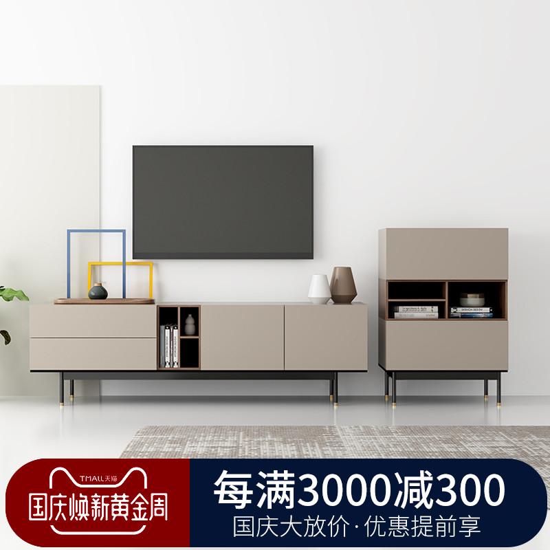 简约现代电视机柜边柜组合墙客厅小户型北欧风格卧室金属高脚地柜
