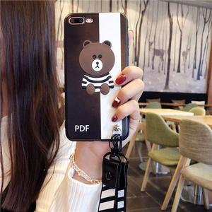 苹果6s手机壳条纹小熊iPhone7 plus全包防摔8p/X挂绳保护套男女款七韩国6splus软壳8plus可爱个性i8潮牌八