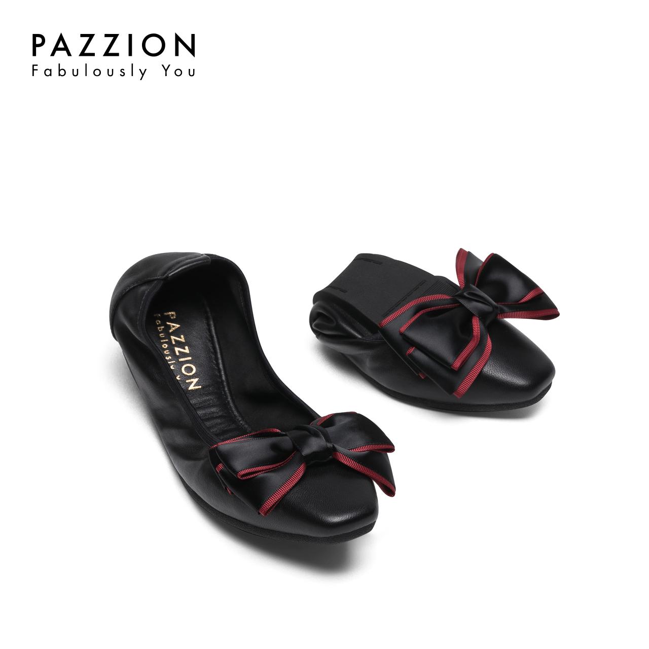 PAZZION2018秋季款舒适羊皮软底平底鞋女 优雅丝绸撞色蝴蝶结单鞋