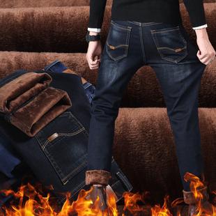 秋冬季男士新款直筒加绒牛裤厚款弹力牛仔裤