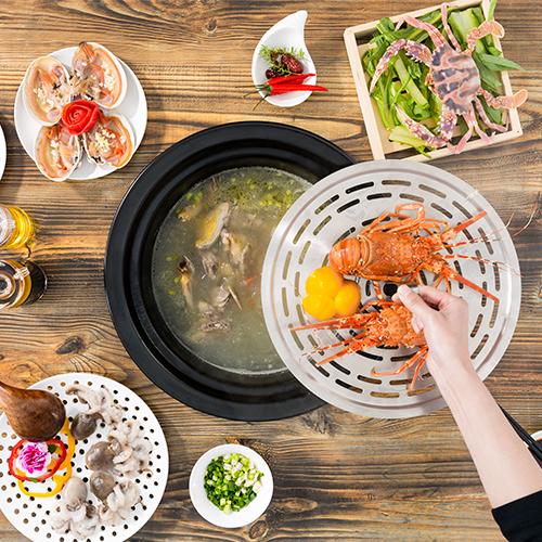 尚蒸鼎电蒸汽火锅养生锅陶瓷蒸汽海鲜锅家用多功能桑拿蒸上蒸下