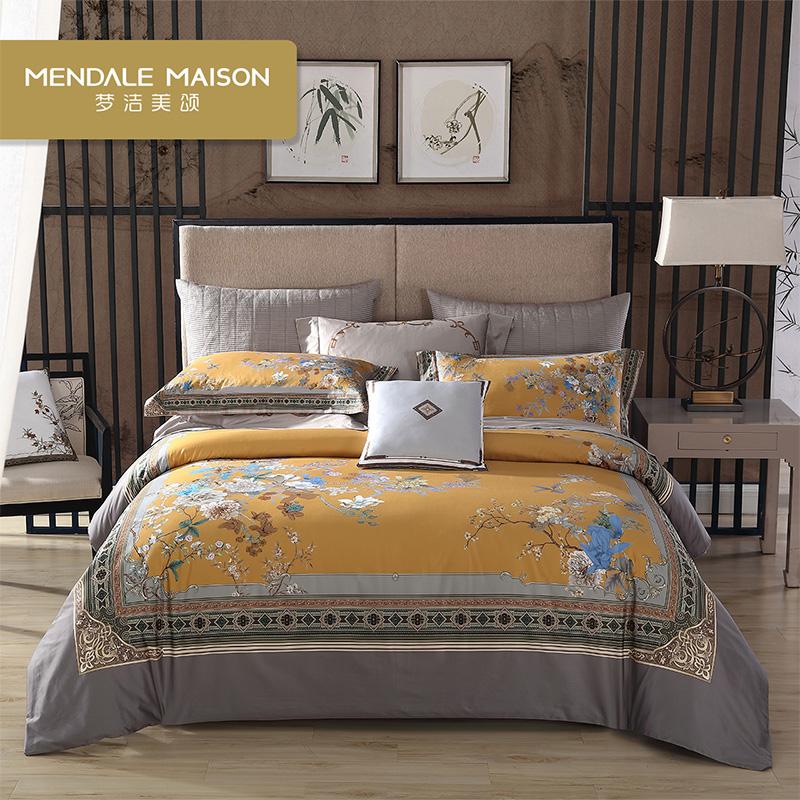 梦洁美颂60S长绒棉数码印花四件套中国风被套床单床品澜庭雅意
