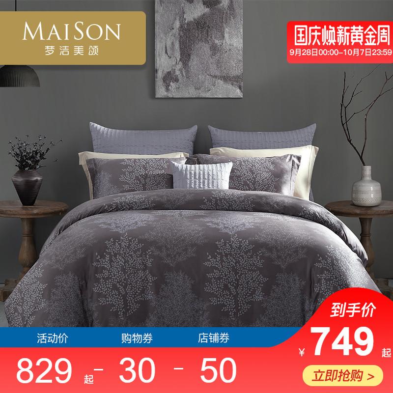 梦洁美颂100支长绒棉四件套100%棉美式床上用品纯棉叶影相随
