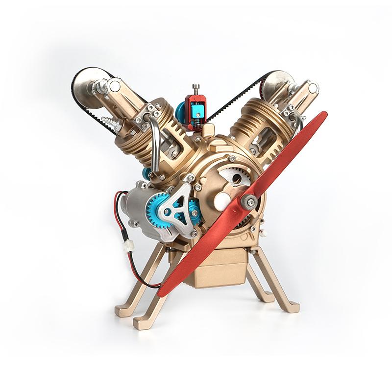 土星文化工匠师V2双缸汽车迷你发动机金属拼装模型高难度组装成人