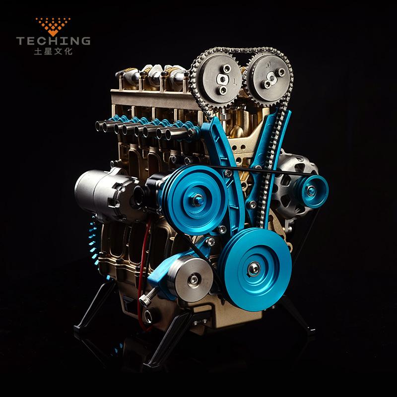 土星文化工匠师直列四缸汽车迷你发动机金属拼装模型成人玩具