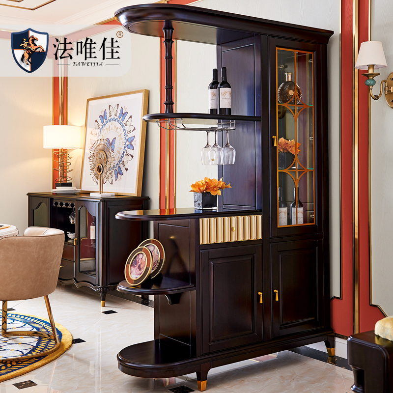 轻奢后现代美式门厅柜全实木隔断玄关柜子客厅装饰进门口欧式屏风