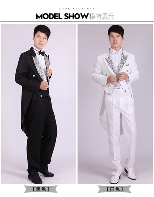 Men's Black Tailcoat Magic Costume Jazz Set Dance Competition Chorus Performance Costume Dress