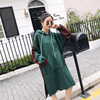 Real Shot Small Video 2018 Autumn And Winter Long Long-Sleeved Hooded Sweater Loose Thick Maternity Dress