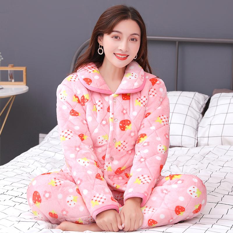 卡朵茵秋冬珊瑚绒夹棉睡衣女士保暖三层加厚加绒老年冬家居服套装