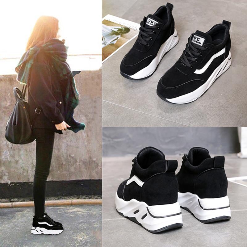 内增高运动休闲鞋女2018春季新款韩版百搭松糕鞋学生单鞋跑步鞋子