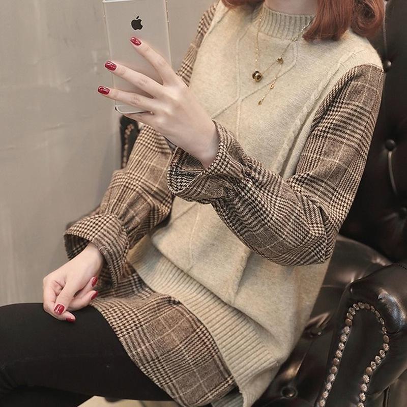 假两件毛衣女上衣2020春秋新款拼接韩版宽松格子喇叭袖套头针织衫