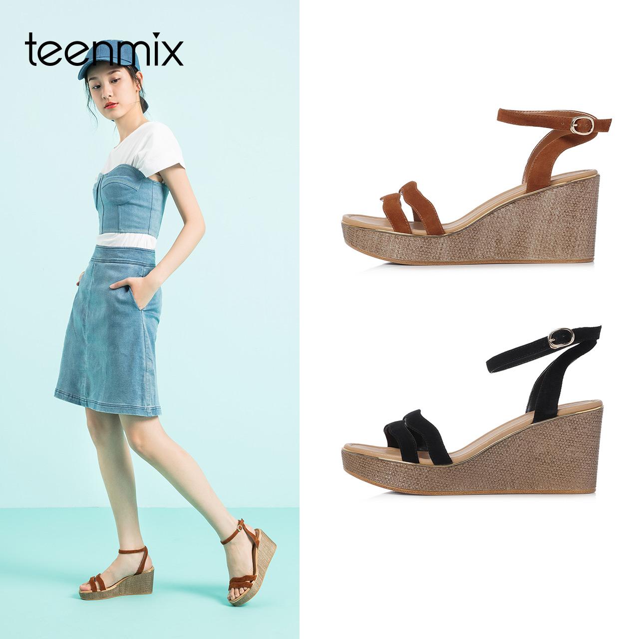 Teenmix-天美意2018夏商场同多条带通勤风坡跟女凉鞋CC404BL8