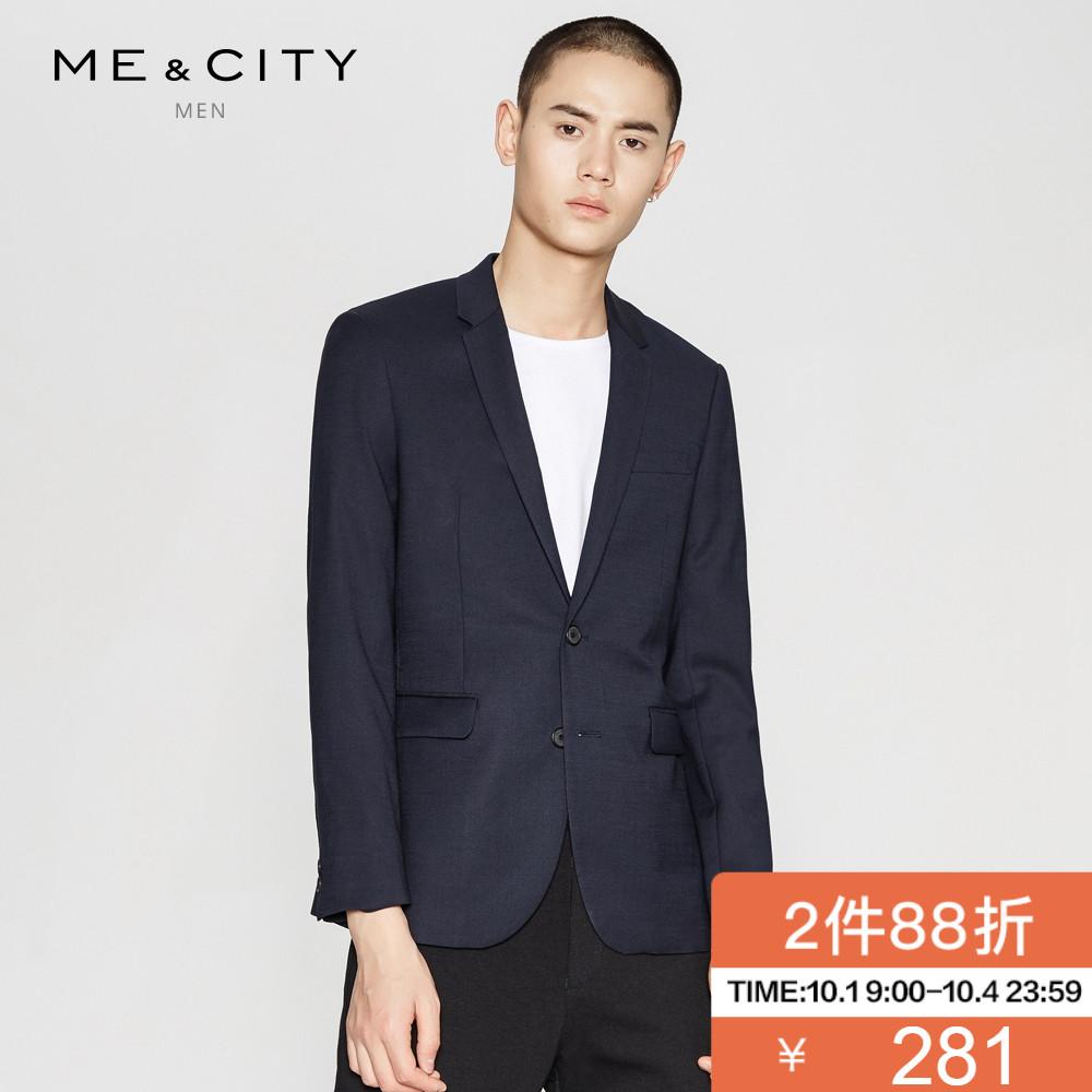 折|MECITY男装纯色两粒单排扣都市休闲商务西装
