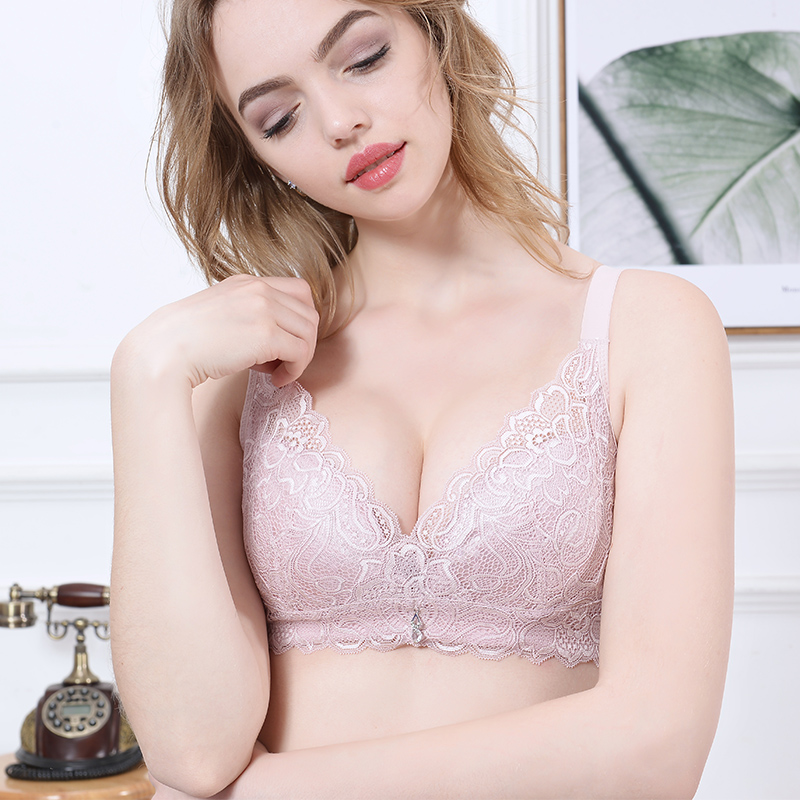68eb14193c Big breasts small full cup bra ultra-thin gathers no steel ring no sponge  underwear