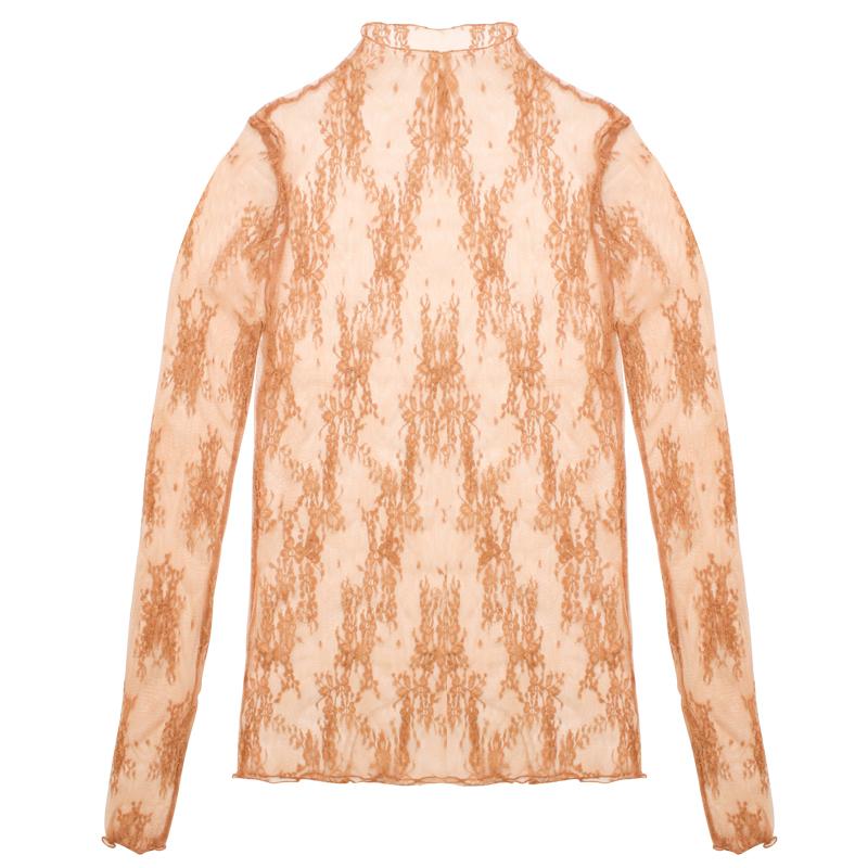 洋气蕾丝衫秋季内搭镂空网纱打底衫女半高领韩版性感透视上衣小衫