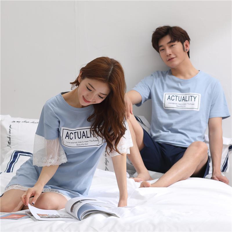 2套价纯棉情侣睡衣夏季韩版可爱睡裙女夏天短袖男士家居服套装