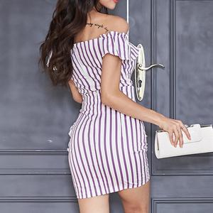 2021#2020夏装韩版女神范性感一字肩修身条纹包臀两件套连衣裙