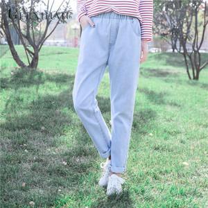 直筒裤松紧腰原宿bf浅色少女生裤子哈伦裤牛仔裤长裤宽松显瘦大码