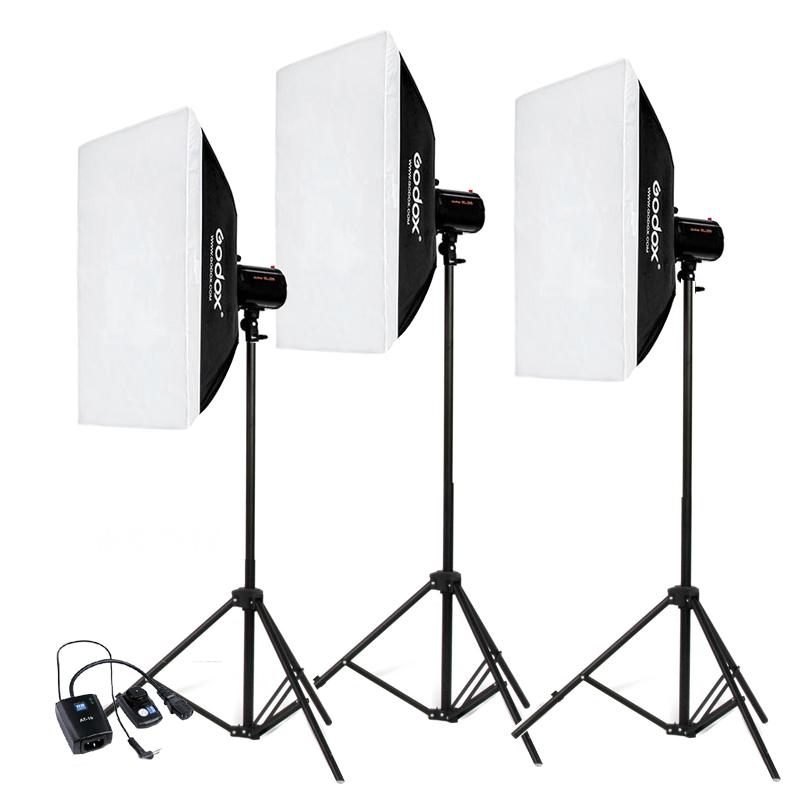 神牛小先锋200W摄影灯影室闪光灯套装柔光箱摄影棚摄影灯服装静物产品拍照补光灯打光灯三灯套装