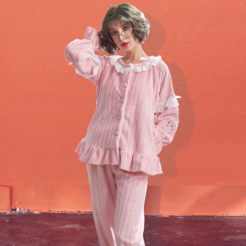 秋冬季月子服孕妇加厚珊瑚绒哺乳睡衣产后法兰绒喂奶衣家居服套装