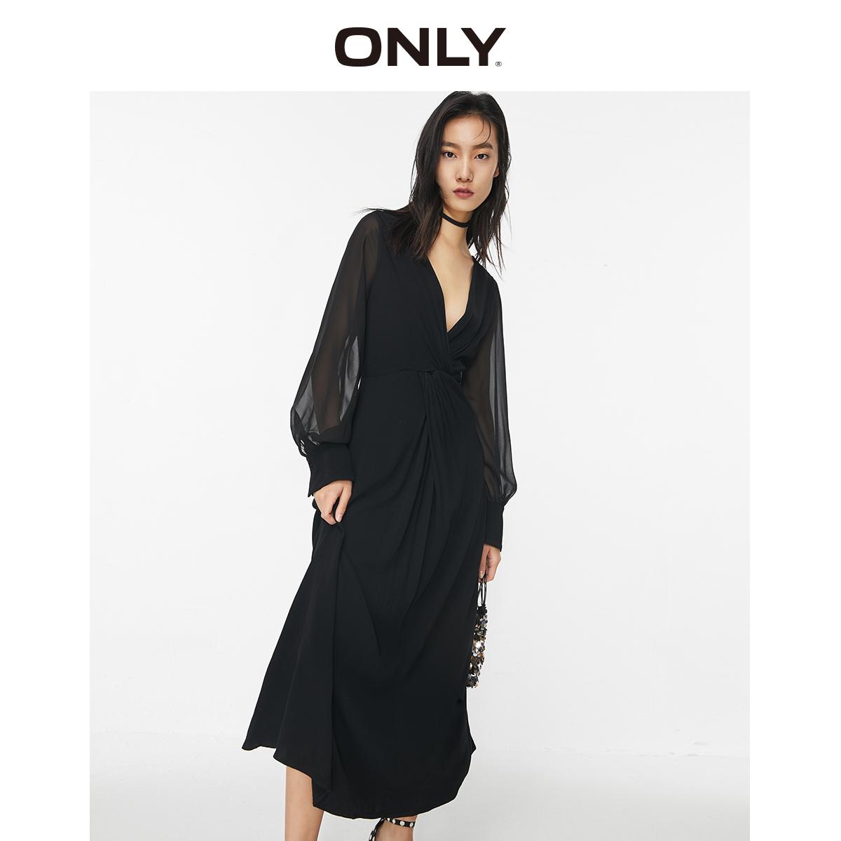 ONLY2020夏季新款气质V领收腰洋气长袖雪纺连衣裙女 120107561