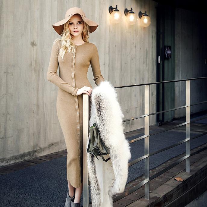 欧美街拍秋冬装优雅简约修身显瘦针织长裙休闲打底长袖连衣裙
