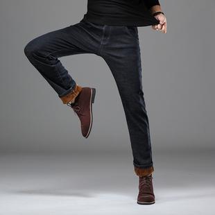 高腰加绒加厚宽松直筒男士弹力牛仔裤商务休闲中年爸爸保暖冬款裤