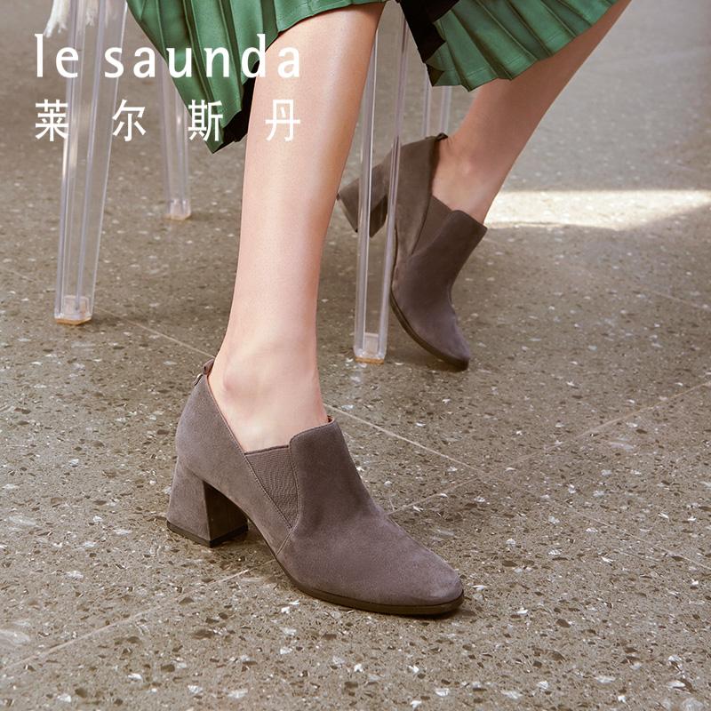 预售莱尔斯丹 2018秋季新款粗高跟深口裸靴磨砂女踝靴短靴9T68804