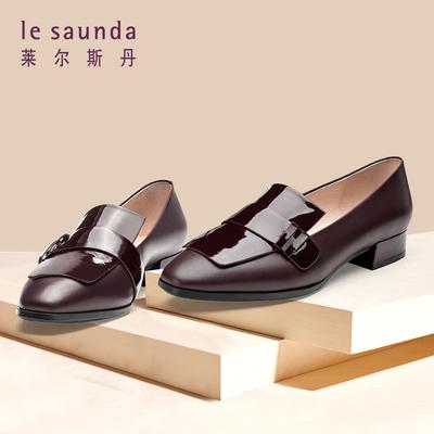 莱尔斯丹 2018新款英伦女小皮鞋休闲粗跟女鞋乐福鞋单鞋9T30601