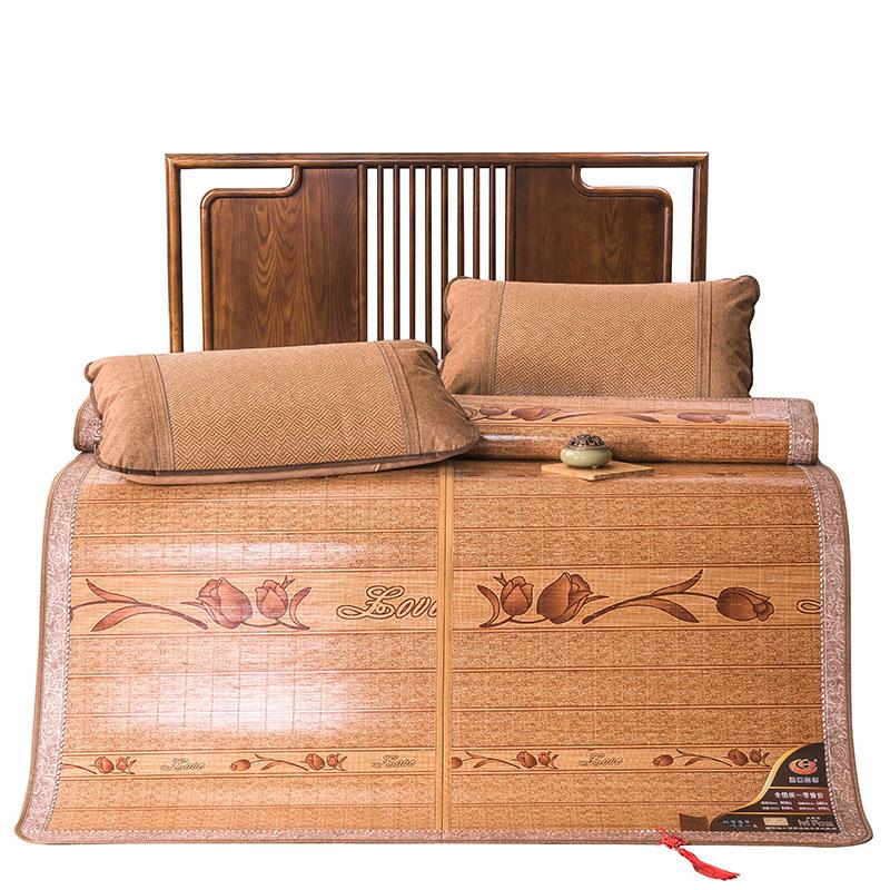 夏季竹席凉席1.8m床双人双面折叠竹凉席1.5米宿舍席子冰丝席1.2米
