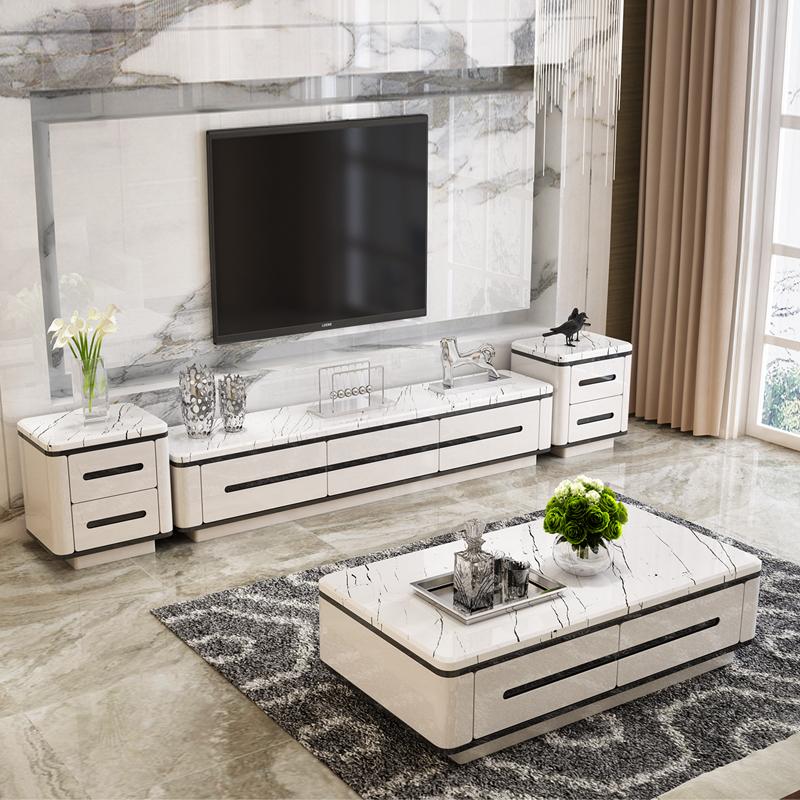 大理石茶几电视柜组合套装白色客厅烤漆北欧现代简约小户型茶几桌