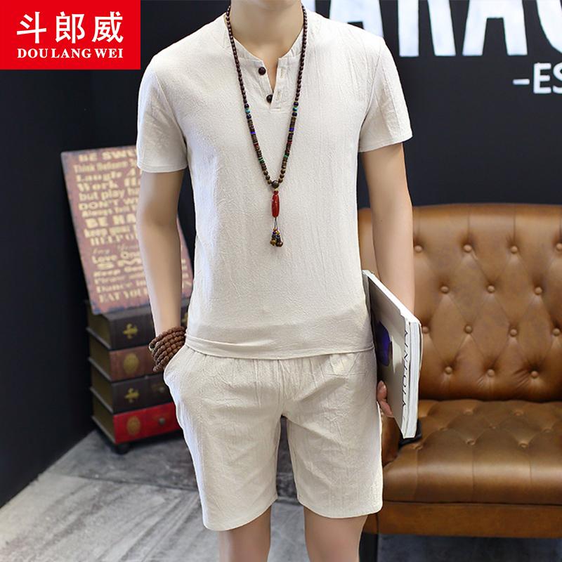 斗郎威套装男士棉麻短袖t恤潮流休闲短裤青年中国风仿亚麻两件套