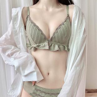 内衣女无钢圈前扣超薄聚拢小胸平胸专用文胸小胸罩易脱不空杯薄款