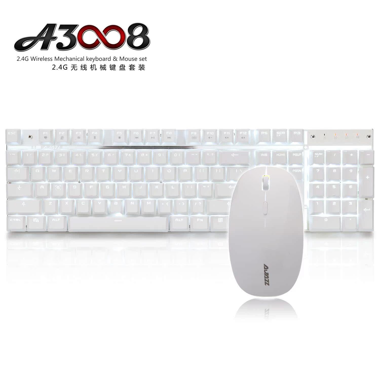 黑爵 A3008无线机械键盘鼠标套装青轴黑轴办公充电游戏键鼠套装
